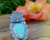 The Wanderlust Ring - Silversmithed Blue Ridge Lightening Turquoise Ring Size 9.5 US