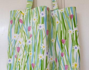 shopping bag - spring flowers print