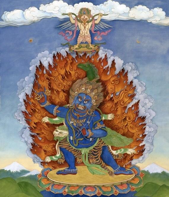 Vajrapani & Hayagriva, with Garuda above Yidam Deity Buddhist Deity Bodhisattva meditation Dharma protector Temple guardian thangka thanka