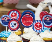 Nautical Mickey Inspired Cupcake Toppers, Nautical Party Decor, Mickey Inspired Party, Nautical Birthday Decor, Anchor Party Decor, #60
