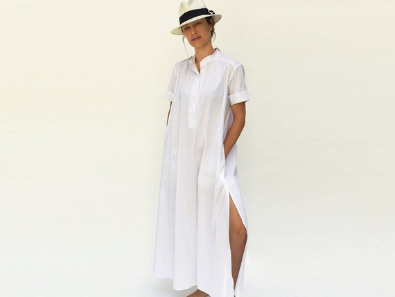 Items similar to maxi dress caftan loose fit dress slit for Loose fitting wedding dresses