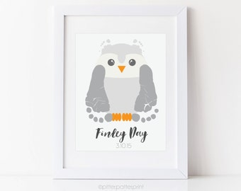 Owl Nursery Art Baby Footprint Woodland Nursery, Blue Owl Boy's Room, Personalized with Your Child's Feet, 5x7 8x10 or 11x14 inches UNFRAMED