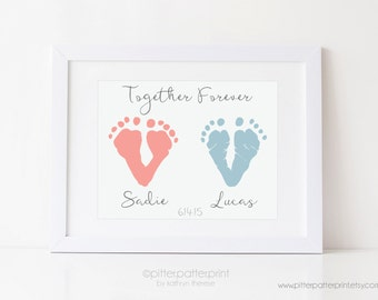 Twin Memorial Art Print, Baby Footprint Art, Loss of Baby, Child, Infant, Sympathy Gift Art Print, Together Forever Twins, 5x7 in UNFRAMED