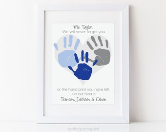 Gift for Au Pair, Nanny, Daycare, Babysitter, Handprint Heart, Personalized Thank you Gift, Your Child's Hands, 8x10 or 11x14 UNFRAMED