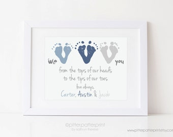 Father's Day Gift from Triplets, New Dad, Daddy, We Love You Baby Footprint Art Print, Personalized with your Child's Feet, UNFRAMED