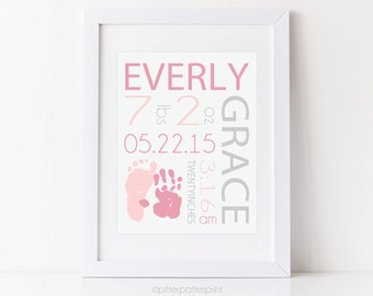 Pink Gray Birth Announcement Wall Art, Baby Girl Baby Footprint Handprint, Art Print, Baby Girl Nurser, Baby Name Art, New Baby Gift