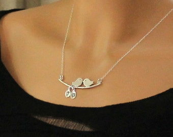 Silver Personalized Love Birds Necklace,  New Mother Necklace, Annivarsary Gift, Initial Necklace, Hand Stamped