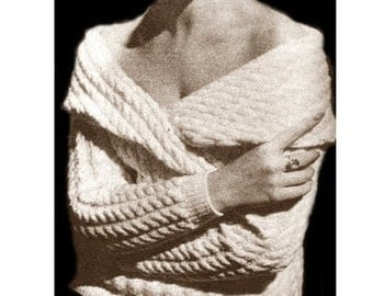 Vintage knitting Pattern - Slouchy Sweater - Cable Stitch - Off Shoulder Sweater - PDF Instant Download - Cable Knitting - Digital Pattern