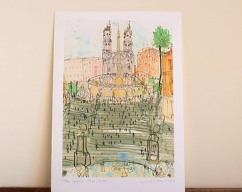 ROME ART PRINT, The Spanish Steps, Italy Watercolor Painting, Rome Wall Art, Italian Home Decor, Signed Giclee Print by Clare Caulfield