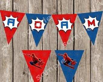 Spiderman Happy Birthday Banner - Amazing Spiderman Birthday Party - DIY Printable