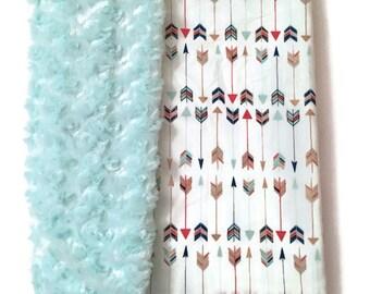 Adult Blanket ARROW Blanket Mint Faux Fur Twin Bed Blanket Throw Blanket by BizyBelle