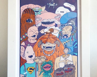 Cosmic Ginge 80s Movie Character A4 Print, Goonies, Star Wars, Ghostbusters, Labyrnth, Alien