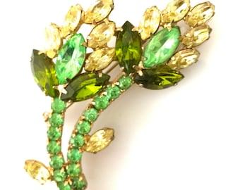 Floral Rhinestone Brooch, Shades of Green, Floral Spray, Gold Tone Metal