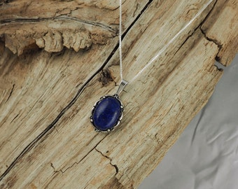 Sterling Silver Pendant/Necklace - Lapis Lazuli Pendant/Necklace - 10mm x 14mm Natural Blue Lapis Lazuli Stone in a Sterling Silver Setting