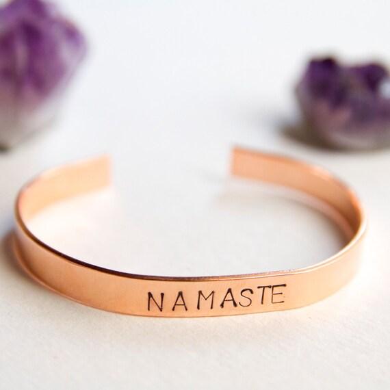 Namate Bracelet. Hand stamped. Custom cuff bracelet. Yoga Jewelry