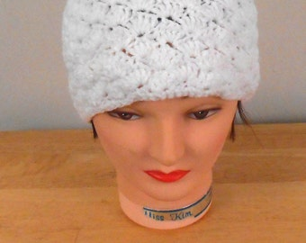 "Crochet Hat - White Hat Handmade 22"" with Button Top - Autumn Hat - Winter Hat -  Free US Shipping"