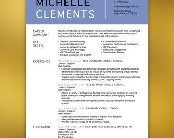 Dental Resume Template - Resume with Free Cover Letter and References - Instant Download - MS Office- CLEMENTS