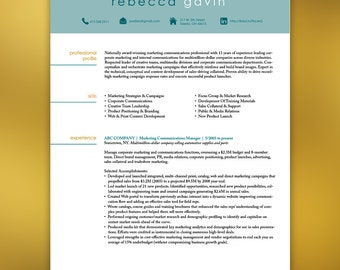 Resume Template Instant Download  4 Pages  | Marketing Professional Social Media Icons | Cover Letter |  Word Template for Mac or PC - GAVIN