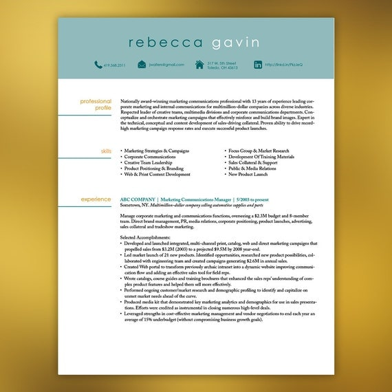 Resume Template Instant Download 4 Pages Marketing