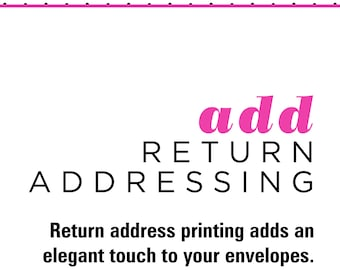 Return Address Printing - Add to Your Order - Print a Return Address on Your Envelopes