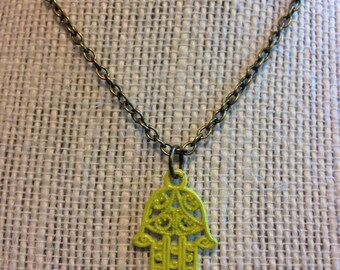 "14"" Bright Yellow Hamsa Hand Necklace"