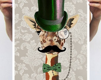 Steampunk Giraffe vintage Animal painting drawing illustration portrait painting mixed media digital print POSTER 11x16
