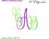 SMALL Victorian Script Monograms - Machine Embroidery Designs - Monogram Fonts - Digital Download