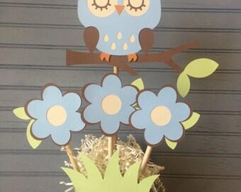 Owl Baby Boy Shower Centerpiece