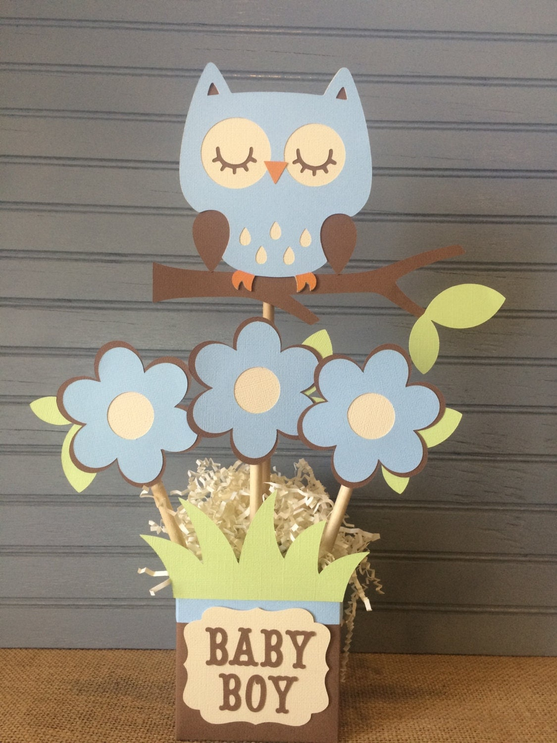 owl baby boy shower centerpiece