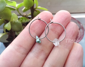 Titanium & Stone hoops | Niobium Stone hoops | non-allergenic earrings | titanium earrings | Quartz Hoops | Turquoise hoops | Stone hoops