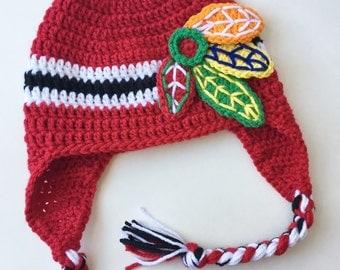 Blackhawks Hat - Crochet Hat - Blackhawks - Crochet Blackhawks Hat - Hat - NHL Hat - Photo Prop - Chicago Blackhawks Hat - Hockey Hat
