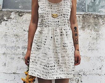 Cross Back Linen Dress in Catacomb Print, Handmade Simple White Dress, Geometric Print, Women's Clothing