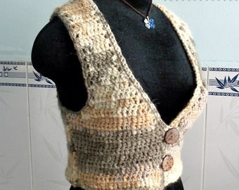 Crocheted Latte short vest and slouchy hat - free worldwide shipping