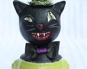 Halloween Black Cat Art Doll Vintage Style Prim Folk # 10