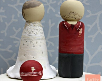 Football Mad Groom and Bride Cake Topper