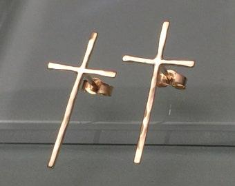 Solid 14k Gold Cross Earrings, 14k Cross Earrings