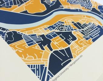 West Virginia University Map Print
