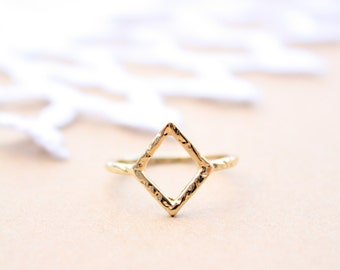Dainty Open Rhombus Ring in Gold Plated Brass, Geometric Ring