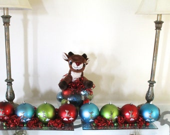 Reindeer Centerpieces, Christmas Centerpiece, Holiday Table Decor, Rudolph Dasher Dancer Prancer Vixen Comet Cupid Donner Blitzen