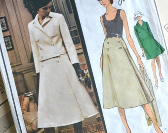 Vogue Paris Original 70s sewing pattern, Guy Laroche, 2401 - A line Dress and double breasted Jacket - Bust 34, Hip 36 inches, vintage