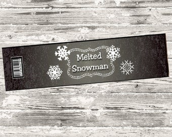 Instant Download Melted Snowman Chalkboard Water Bottle label Print Your Own