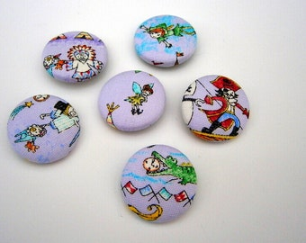 6 Fabric Buttons Peter Pan Tinkerbell Hook crocodile lost boys handmade 1 1/8 inches