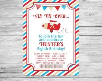 Biplane Birthday Invitation Printable, Vintage Plane Birthday Invitation, Plane Invite