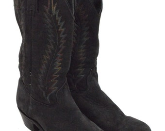 Vintage 80s Wrangler Leather Cowboy Boots Sz 9M