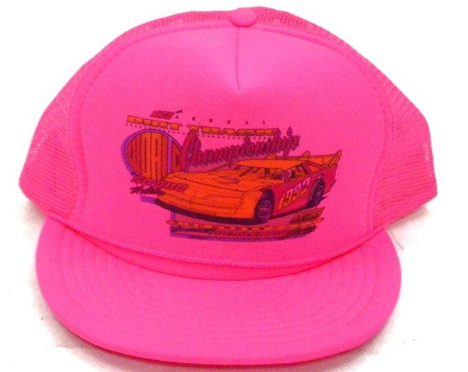 Vintage 90s 12th Annual Dirt Track World Championship Race Car Thunderbird Hot Pink Snapback Cap Trucker Mesh Hat
