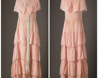 1930s Pale Pink and Baby Blue Ruffled Maxi Dress
