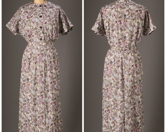 1950s Purple and Gold Paisley Day Dress