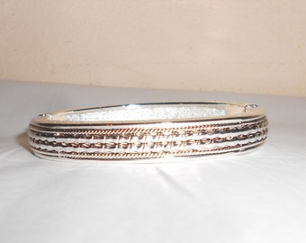 "Vintage cuff bangle silver tone heavy etched metal spring loaded 7"" from early 1990s  Free USA Shipping"