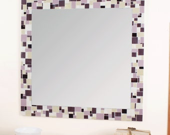 Decorative Mosaic Bathroom Wall Mirror in Purples and Cream Stained Glass Tiles, Various Sizes