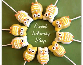 12 Retro Owl Cake Pops for woodland birthday, forest baby shower, gender reveal, 70s theme, autumn, fall wedding, thanksgiving, camping